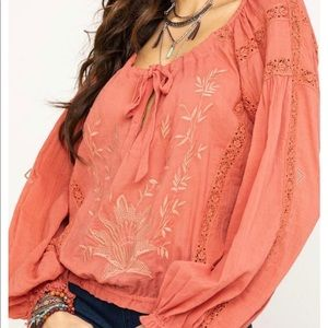 Free people boho embroidered peasant blouse